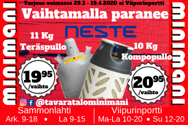 Sammontorin Tavaratalo Minimanista nyt Neste-kaasut superedullisesti!