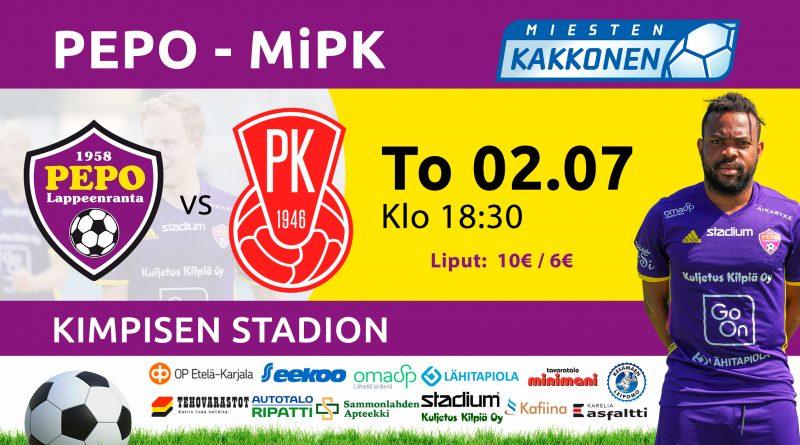 PEPO kohtaa Kimpisen Stadionilla Kakkosen ensimmäisessä kotiottelussa MiPK:n Mikkelistä